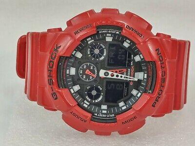 Men's Casio G-Shock RED GA-100B Reverse Display 5081 Digital Watch NEW BATTERY!