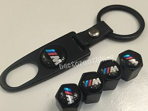 4 x Black Valve Dust Caps Covers with Key Ring (fits Bmw) Tire Tyre Set of 4 M