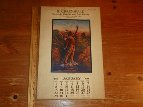 Vintage 1911 Calendar Cincinnati Ohio Diamonds Watches Jewelry Advertising