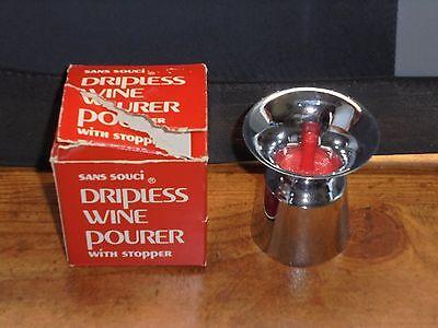 - Vintage Sans Souci Dripless Wine Pourer with Stopper Bar Kitchen Party NOS