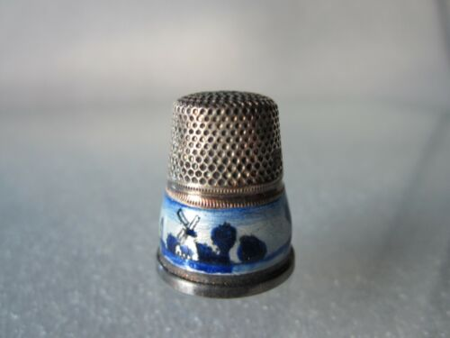 Rare Antique Sterling Silver & Guilloche Enamel Thimble Made in Germany