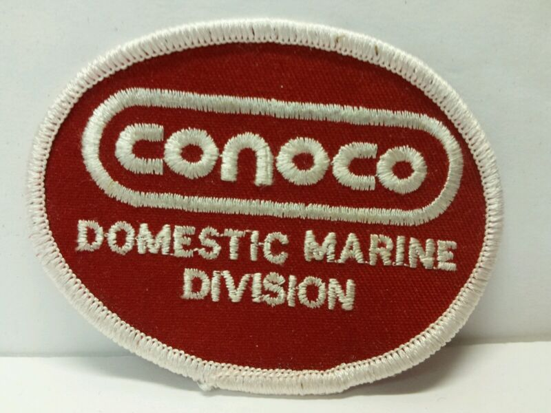 Vintage Conoco Gas Station Oil Petroleum Company Patch Domestic Marine Division