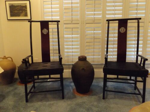 ROSEWOOD SIDE CHAIRS WITH SILK CUSHIONS & LONG LIFE LOGO EXCELLENT (2)
