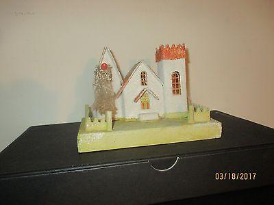 LARGE Vintage Cardboard Christmas COCONUT CASTLE Putz House Excellent condition