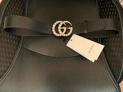 Gucci Black Leather Belt - Pearl Double G Buckle - SZ85