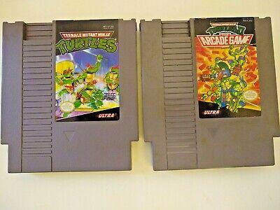 Lot of 2 Teenage Mutant Ninja Turles Nintendo NES  1 & 2 Tested Clean