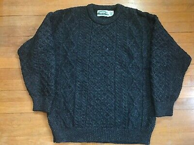 Aran Crafts Made In Ireland Dark Gray Wool Fisherman Cable Knit Boat Sweater XL