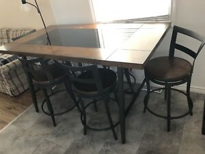 Wood and glass dining table and chairs