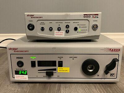 Stryker Endoscopy 988 3 Chip Camera System  X6000 Light Source