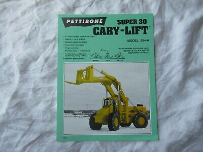 1988 Pettibone Super 30 304-a Cary-lift Specification Sheet Brochure