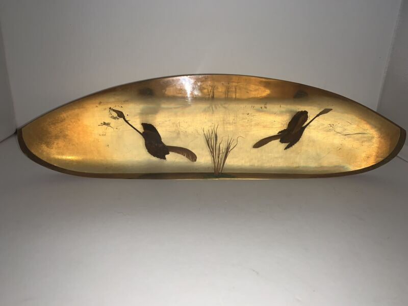Vintage Oblong Lucite Suspension Paperweight Maple Seeds GEESE Folk Art Signed