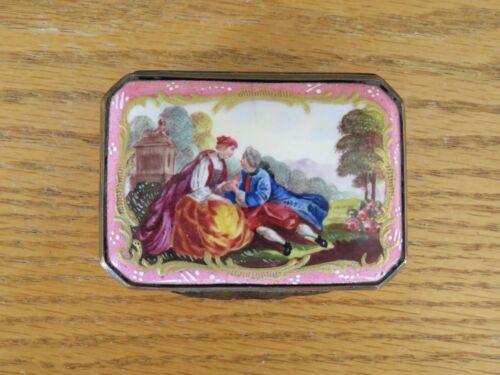 Lovely Antique Snuff Box Georgian Hand-painted Pink Enamel Battersea Bilston 18C