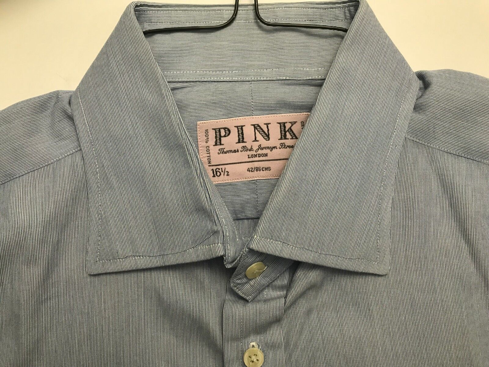 Thomas Pink London Blue Striped 100 Cotton Dress Shirt Mint Cond Sz