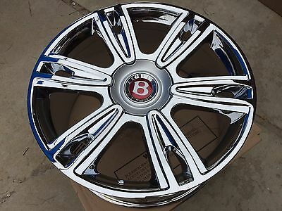 "21"" NEW CHROME OEM FACTORY BENTLEY WHEELS MULLINER FLYING SPUR CONTINENTAL SPEED"