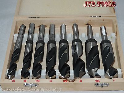 New 8pc JUMBO Drill Bit Set High Speed Steel Drill Bits