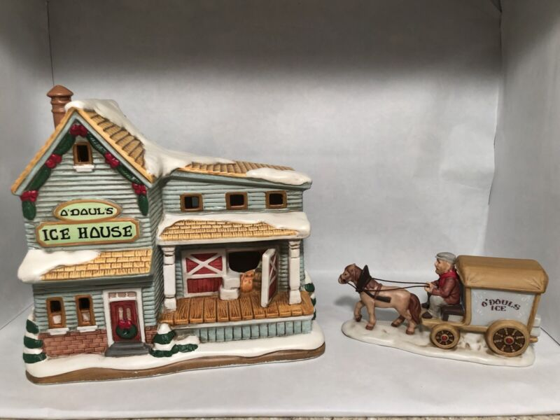 Lefton Colonial Village O'Douls Ice House with Figurine