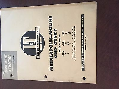 It Minneapolis Moline Avery Shop Tractor Shop Manual A R V Mm Bf Za Zt Gta Gtb