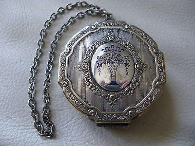 Antique Silver T Cobalt Blue Enamel Flower Basket Chain Handle Dance Compact