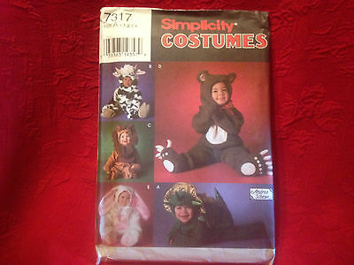 Simplicity Costumes Pattern For baby #7317 Size A 1/2,1,2,3,4 Bunny Dragon Lion