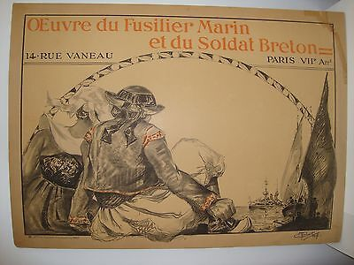 1 of 4 * French WWI Poster * Fund for Naval Gunners and the Breton soldier 1917