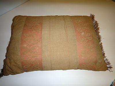 LARGE Antique Victorian  PILLOW Trim OLD LINEN Floral Crochet primitive