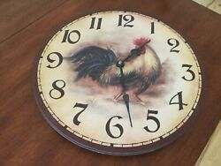 """Vintage Round Wooden Wall Clock 13""""  Rooster Outdoors Home Office Wall Decor"""