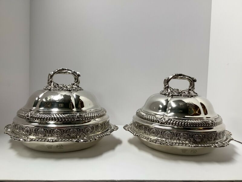 Pr. Sterling Silver Entree Dishes. John Bridges. London 1827. Geogian England.