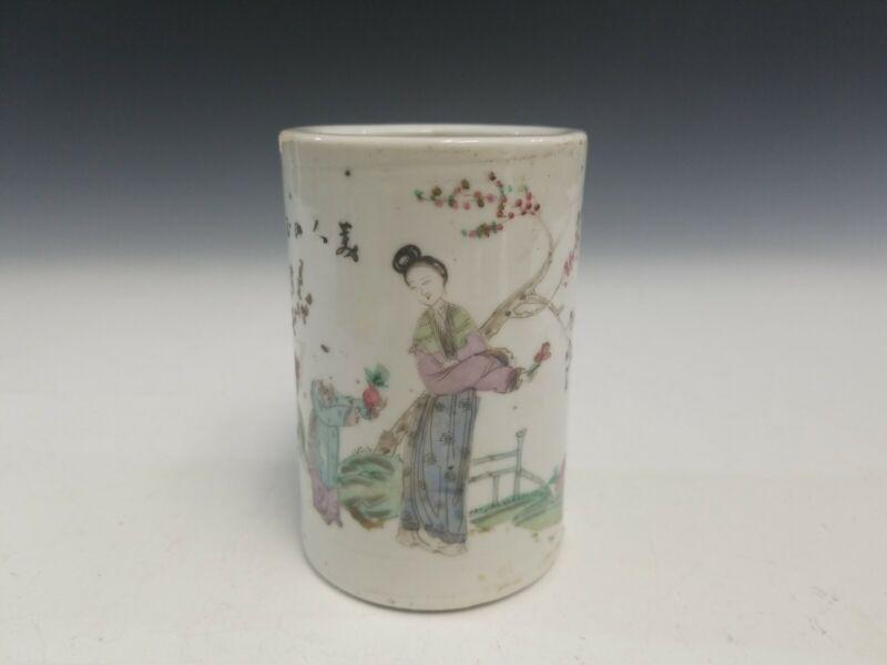 Antique Chinese Famille Rose Porcelain  Brush Pot.