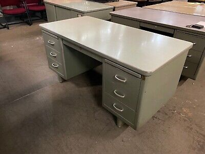 Vintageold Style Tank Desk By Steelcase Office Furniture In Gray Metal