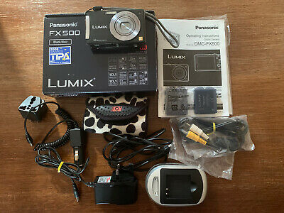 Panasonic LUMIX DMC-FX500 10.1MP Digital Camera - Black Accessories Batteries