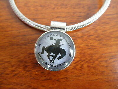Vintage Attic Find OOAK Save Horse Ride A Cowboy Bracelet Country Western Rodeo