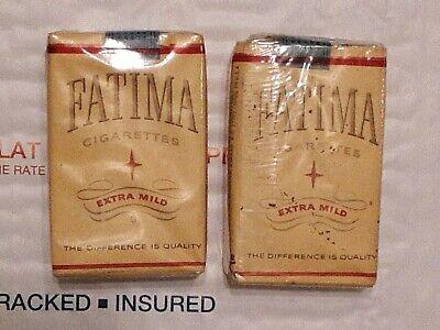 Lot of 2 Vintage FATIMA Cigarettes Paper Soft Short Pack/ Empty display