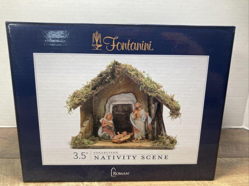 "FONTANINI ROMAN 3 1/2"" NATIVITY SCENE WITH ANGEL & SHEEP"