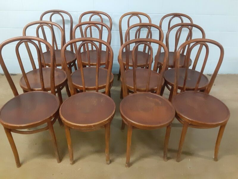 Set of 12 THONET Antique Bentwood Chairs / Some With Original Factory Labels