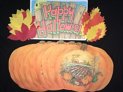 Halloween Decor Lot Vtg Paper Placemats -Hoffmaster Autumn Leaves Halloween Sign
