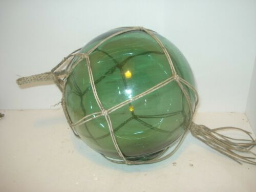 "VINTAGE GLASS FISHING FLOAT Blue-Green  8"" with Rope Net"