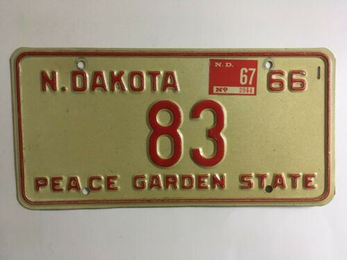 1967 North Dakota License Plate Low Number 2 Digit #83 NICE CONDITION
