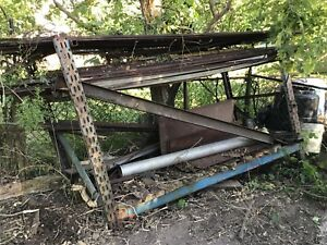 Angle iron, square tubing and various pieces of metal.
