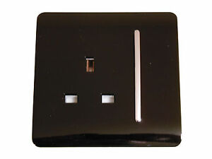 MODERN GLOSS BLACK AND CHROME LIGHT SWITCHES & SOCKETS