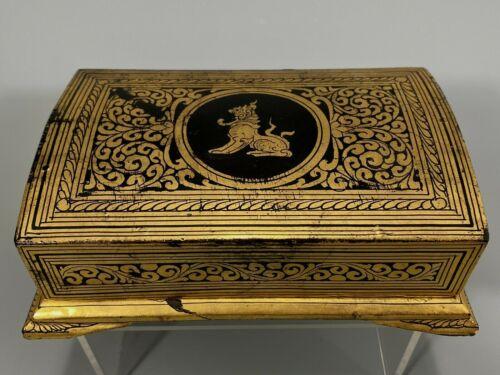 Burma Burmese Black Lacquer Box w/ Gilt Chinte & Scroll Decoration ca. 1950