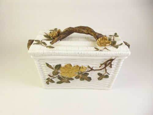 Antique EJD Bodley Porcelain Box Aesthetic Period Basketweave Twigs   (it#a1)