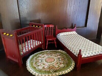 Beautiful Vintage Dolls House Furniture Set Mahogany Brass Bed Cot Chair Rug