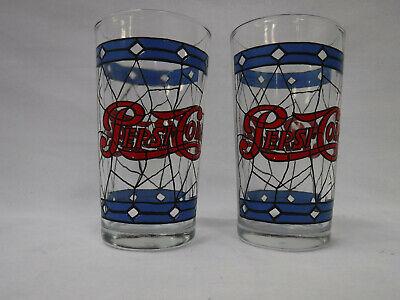 2 - Vintage PEPSI COLA Tiffany Style Drinking Glass 10oz Drinking Glass