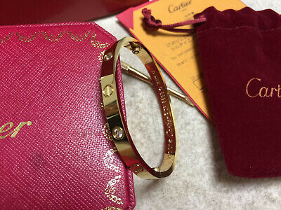 CARTIER 18k Yellow Gold 4 DIAMOND LOVE BRACELET AUTHENTIC WITH NEW SCREW SIZE 17