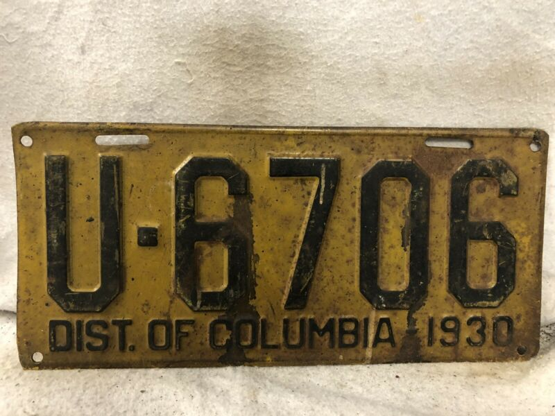 Vintage 1930 District Of Columbia License Plate