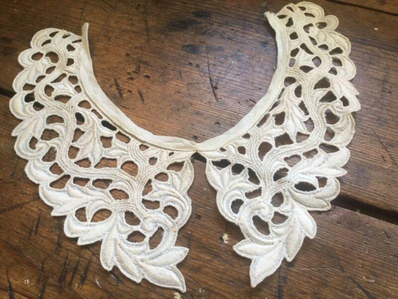 Antique Vintage Victorian Edwardian Needlework Collar Openwork Leaf Design