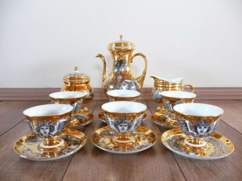 Hollohaza Hungarian handpainted porcelain Endre Szasz coffee set
