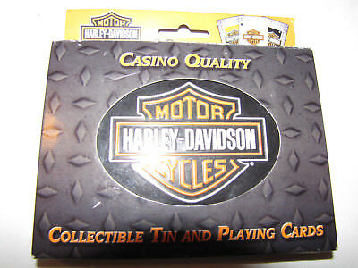 Harley Davidson Casino Quality Collectable Tin and Playing Cards