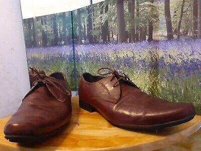 Mens Burtons Brown Leather Lace Up Shoes Size 9/43