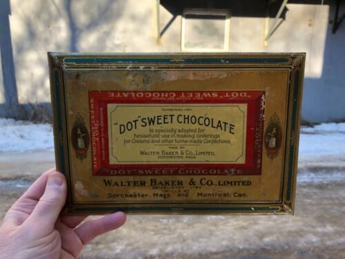 """VINTAGE RARE c1900 TIN OVER CARD GRAPHIC """"DOT SWEET CHOCOLATE"""" WALTER BAKER SIGN"""